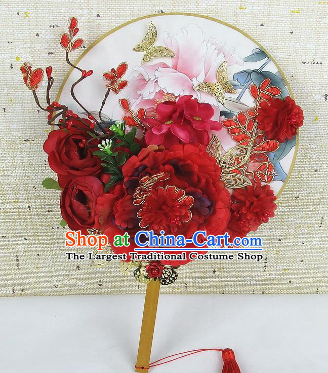Chinese Traditional Wedding Red Peony Flowers Round Fans Ancient Bride Handmade Palace Fans for Women