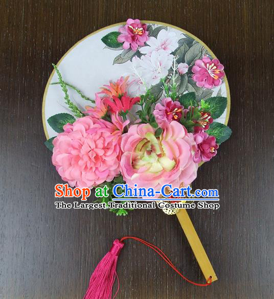 Chinese Traditional Wedding Pink Peony Flowers Round Fans Ancient Bride Handmade Palace Fans for Women