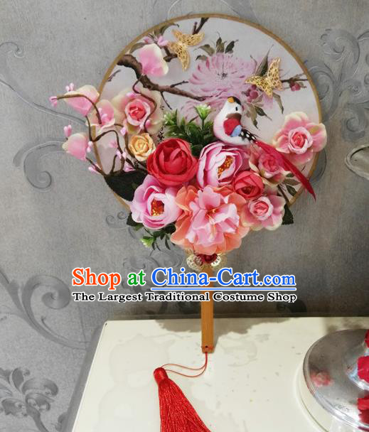 Chinese Traditional Wedding Pink Flowers Bird Round Fans Ancient Bride Handmade Palace Fans for Women