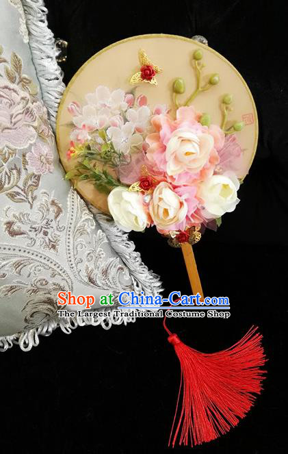 Chinese Traditional Wedding White Rose Round Fans Ancient Bride Handmade Palace Fans for Women