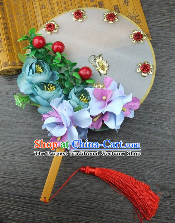Chinese Traditional Wedding Green Flowers Round Fans Ancient Bride Handmade Palace Fans for Women