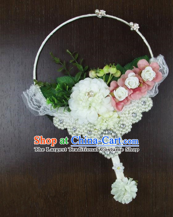 Chinese Traditional Wedding White Round Fans Ancient Bride Handmade Pearls Palace Fans for Women