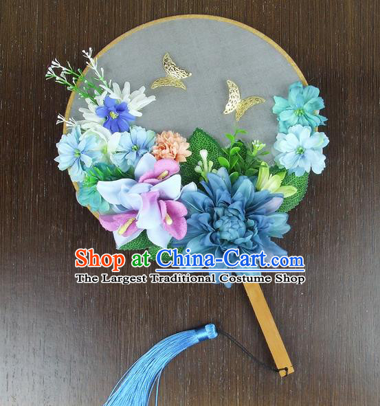 Chinese Traditional Wedding Blue Peony Round Fans Ancient Bride Handmade Palace Fans for Women
