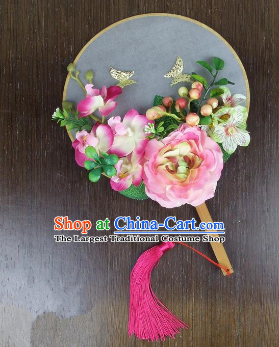 Chinese Traditional Wedding Pink Peony Butterfly Round Fans Ancient Bride Handmade Palace Fans for Women