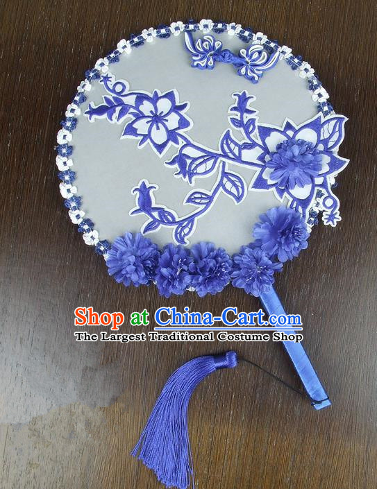 Chinese Traditional Wedding Embroidered Blue Round Fans Ancient Bride Handmade Palace Fans for Women