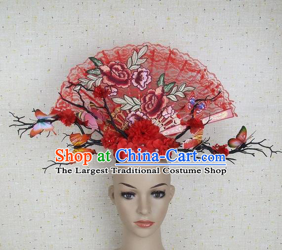 Top Grade Handmade Chinese Embroidered Peony Palace Hair Clasp Headdress Traditional Hair Accessories for Women