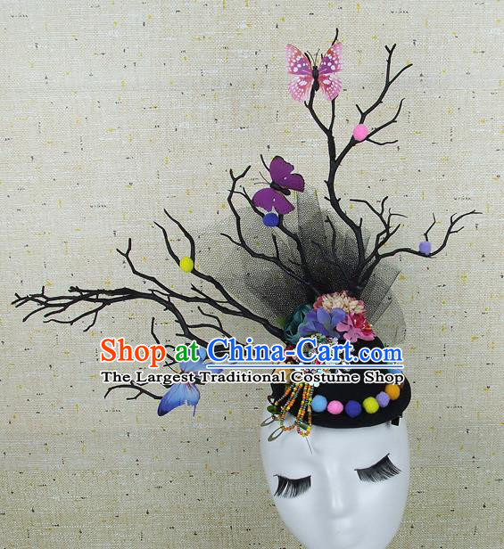 Top Grade Handmade Hair Accessories Halloween Cosplay Colorful Butterfly Headwear for Women