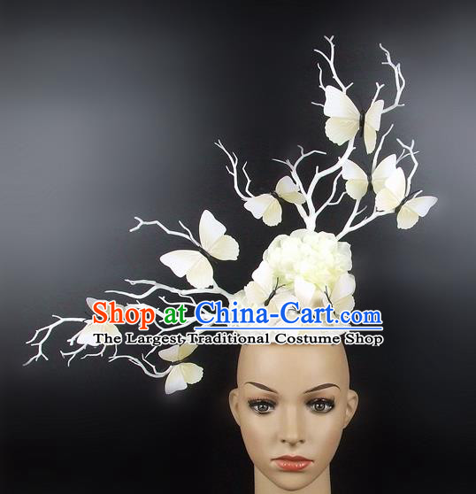Top Grade Handmade Hair Accessories Halloween Cosplay White Butterfly Headwear for Women