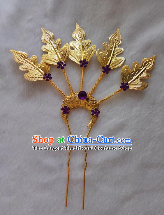 Chinese Ethnic Dai Nationality Folk Dance Hair Accessories Traditional Golden Leaf Hairpins for Women