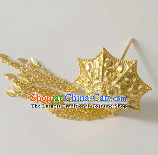 Chinese Ethnic Folk Dance Hair Accessories Traditional Dai Nationality Golden Hairpins for Women