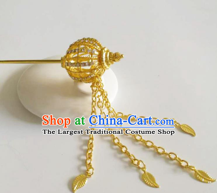 Chinese Ethnic Folk Dance Hair Accessories Traditional Dai Nationality Golden Tassel Hairpins for Women