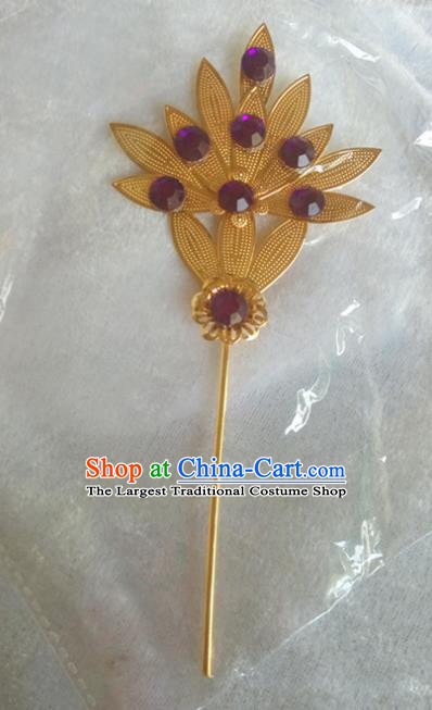 Chinese Ethnic Dai Nationality Hair Accessories Traditional Golden Leaf Hairpins for Women