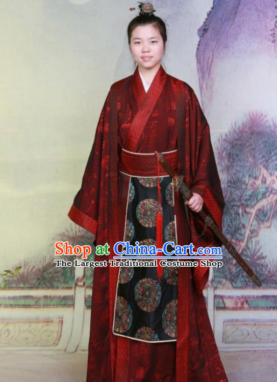 Ancient Chinese Swordsman Costumes Traditional Han Dynasty Prince Hanfu Clothing for Men