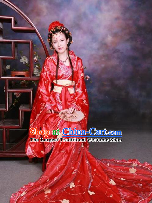 Ancient Chinese Wedding Costumes Traditional Tang Dynasty Imperial Concubine Red Hanfu Dress for Women