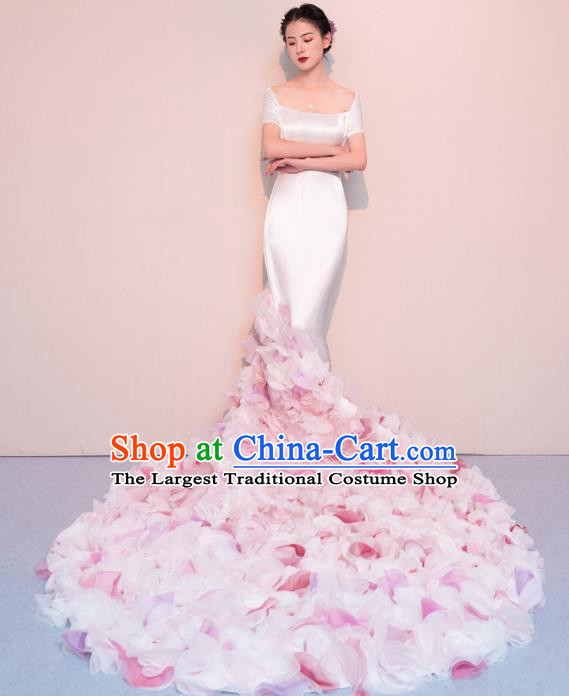 Top Grade Customized Wedding Dress Bride Pink Flowers Trailing Full Dress for Women