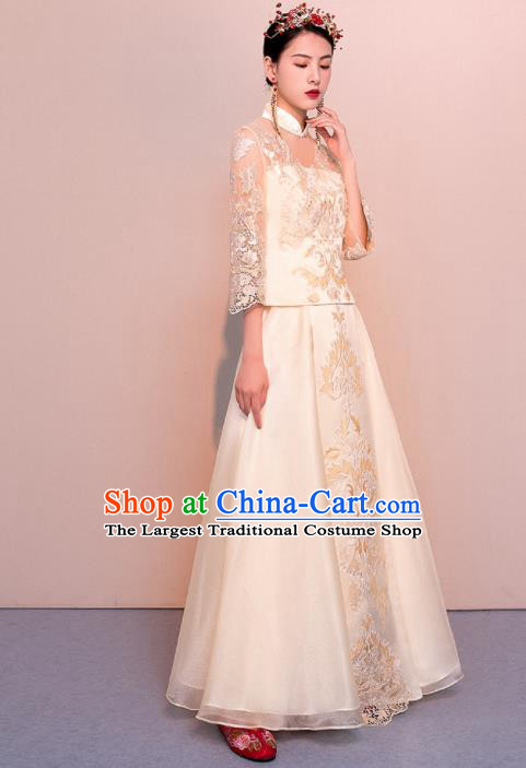 Chinese Traditional Wedding Dress Ancient Bride Embroidered Champagne Xiuhe Suits for Women