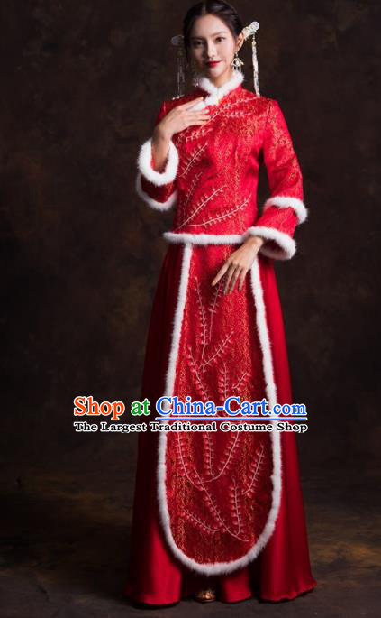 Chinese Traditional Costumes Red Xiuhe Suits Ancient Bride Embroidered Wedding Dress for Women