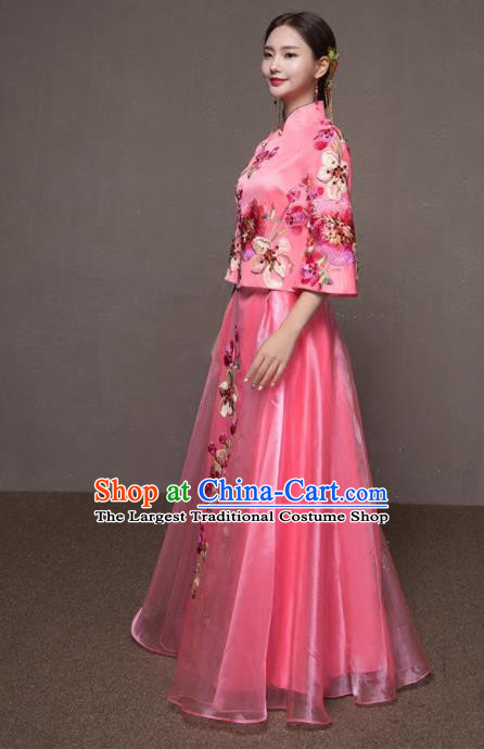 Chinese Traditional Embroidered Wedding Costumes Pink Xiuhe Suits Ancient Bride Dress for Women