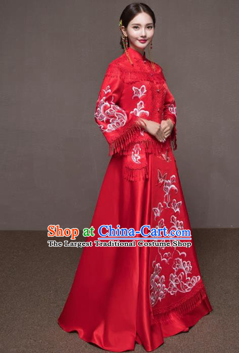 Chinese Traditional Embroidered Wedding Costumes Red Tassel Xiuhe Suits Ancient Bride Dress for Women