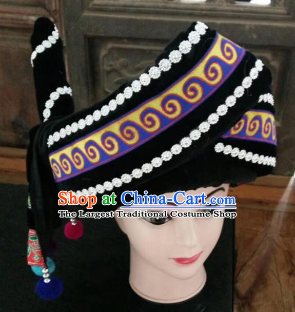 Chinese Traditional National Hat Ethnic Yi Nationality Black Hat for Men