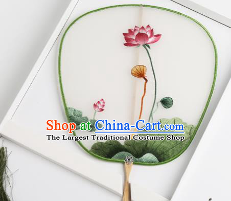 Traditional Chinese Crafts Palace Fans Silk Round Fans Ancient Princess Embroidered Lotus Fan for Women