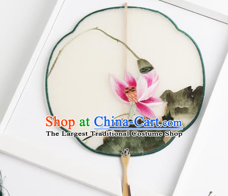 Traditional Chinese Crafts Palace Fans Silk Round Fans Ancient Princess Embroidered Pink Lotus Fan for Women