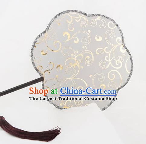 Traditional Chinese Crafts Palace Khaki Silk Fans Round Fans Ancient Princess Gilding Fan for Women