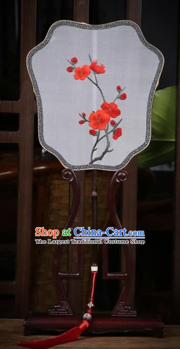 Traditional Chinese Crafts Palace Fans Silk Fans Ancient Embroidered Red Wintersweet Fan for Women