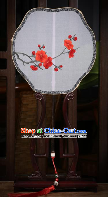 Traditional Chinese Crafts Palace Fans Embroidered Wintersweet Fans Ancient Silk Fan for Women