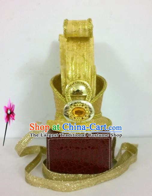 Chinese Traditional Hanfu Headdress Ancient Warring States Period Prince Golden Hairdo Crown for Men