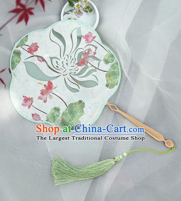 Traditional Chinese Crafts Palace Fans Printing Red Lotus Fans Ancient Silk Fan for Women