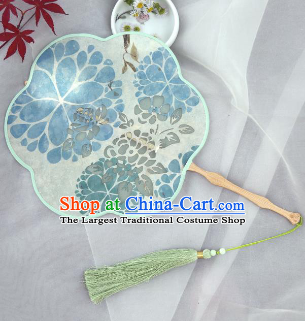 Traditional Chinese Crafts Palace Fans Printing Fans Ancient Blue Silk Fan for Women