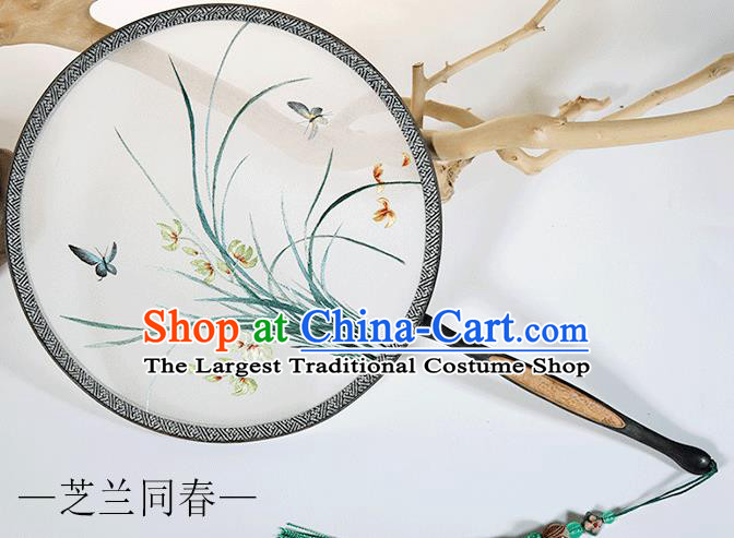 Traditional Chinese Crafts Palace Fans Embroidered Orchid Round Fans Ancient Silk Fan for Women