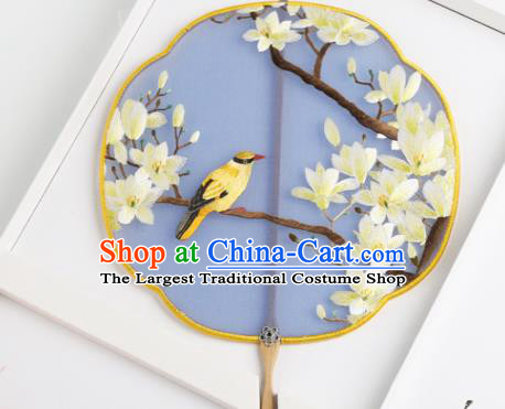 Traditional Chinese Crafts Palace Fans Round Fans Ancient Princess Embroidered Magnolia Fan for Women