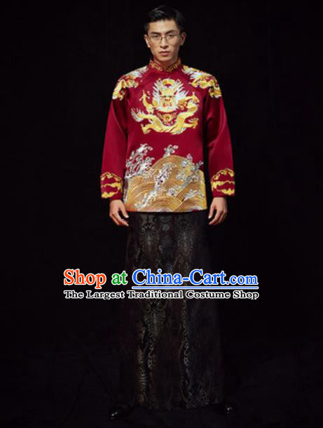 Chinese Traditional Wedding Costumes Ancient Bridegroom Wine Red Long Gown for Men