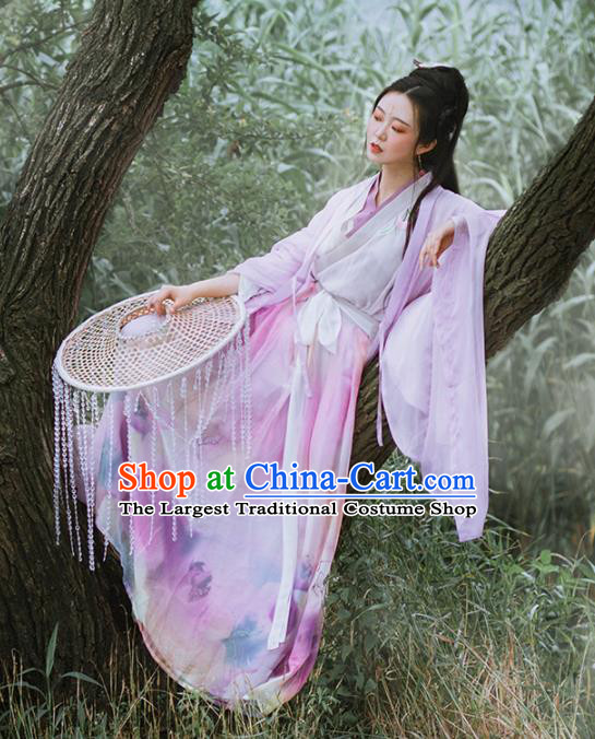 Chinese Ancient Swordswoman Hanfu Dress Traditional Jin Dynasty Princess Embroidered Costumes for Women
