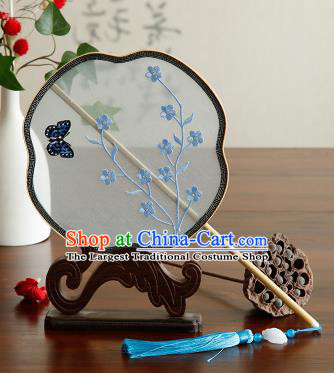 Traditional Chinese Crafts Palace Fans Embroidered Blue Flowers Fans Ancient Organza Fan for Women