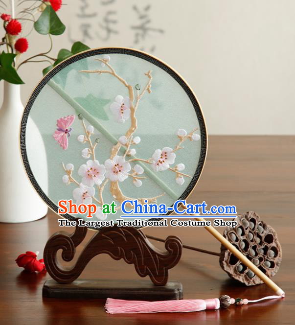 Traditional Chinese Crafts Palace Fans Embroidered Wintersweet Fans Ancient Round Fan for Women