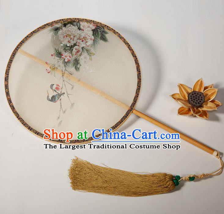 Chinese Traditional Hanfu Palace Fans Painting Peony Fans Ancient Silk Round Fan for Women