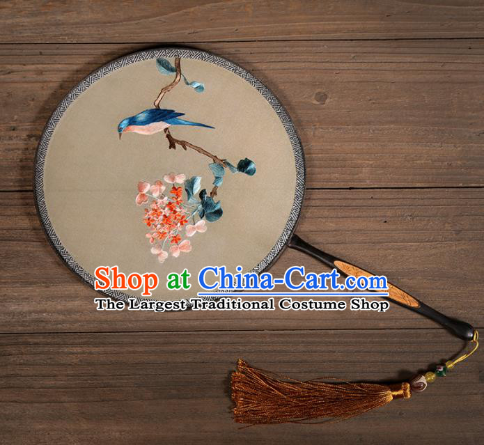 Chinese Traditional Hanfu Palace Fans Embroidered Flowers Bird Fans Ancient Silk Round Fan for Women