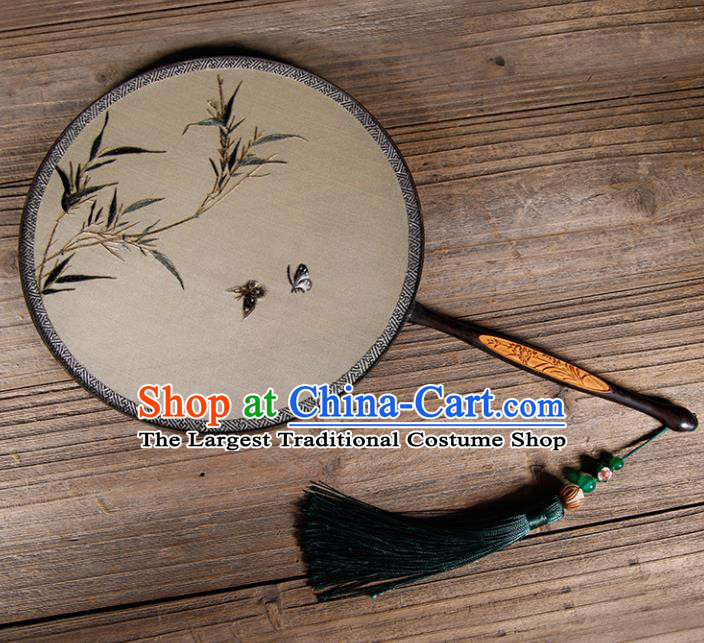 Chinese Traditional Hanfu Palace Fans Embroidered Bamboo Fans Ancient Silk Round Fan for Women