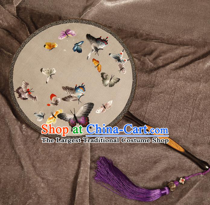 Chinese Traditional Hanfu Palace Fans Embroidered Butterfly Fans Ancient Silk Round Fan for Women