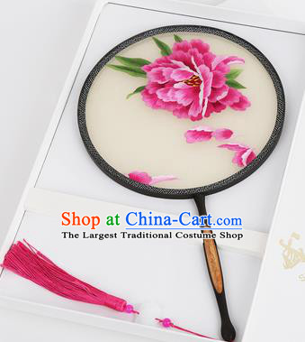 Chinese Traditional Palace Fans Embroidered Peony Fans Ancient Hanfu Silk Round Fan for Women