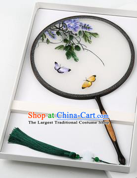 Chinese Traditional Palace Fans Embroidered Grape Fans Ancient Hanfu Silk Round Fan for Women