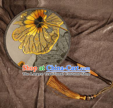 Chinese Traditional Palace Fans Embroidered Lotus Leaf Fans Ancient Hanfu Silk Round Fan for Women