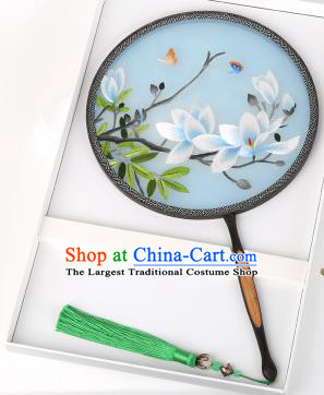 Chinese Traditional Palace Fans Embroidered Magnolia Flowers Fans Ancient Hanfu Silk Round Fan for Women