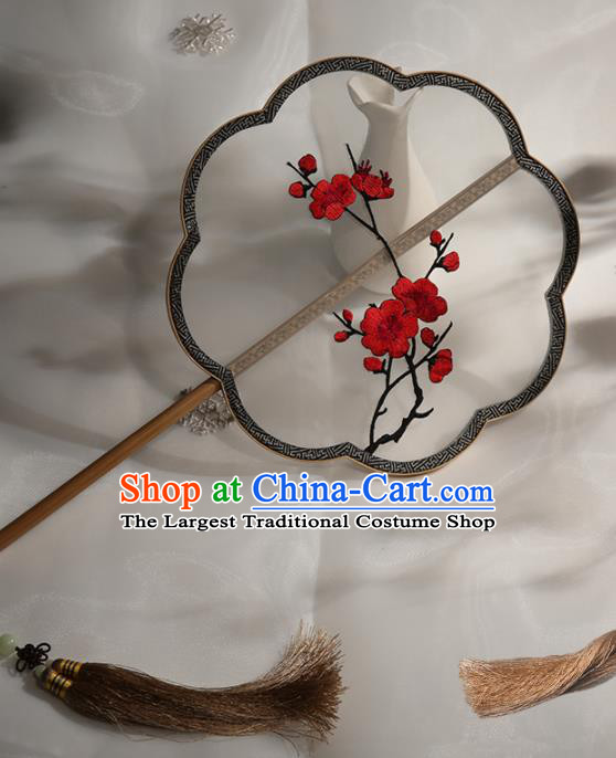 Chinese Traditional Palace Fans Hanfu Embroidered Round Fans Ancient Silk Fan for Women
