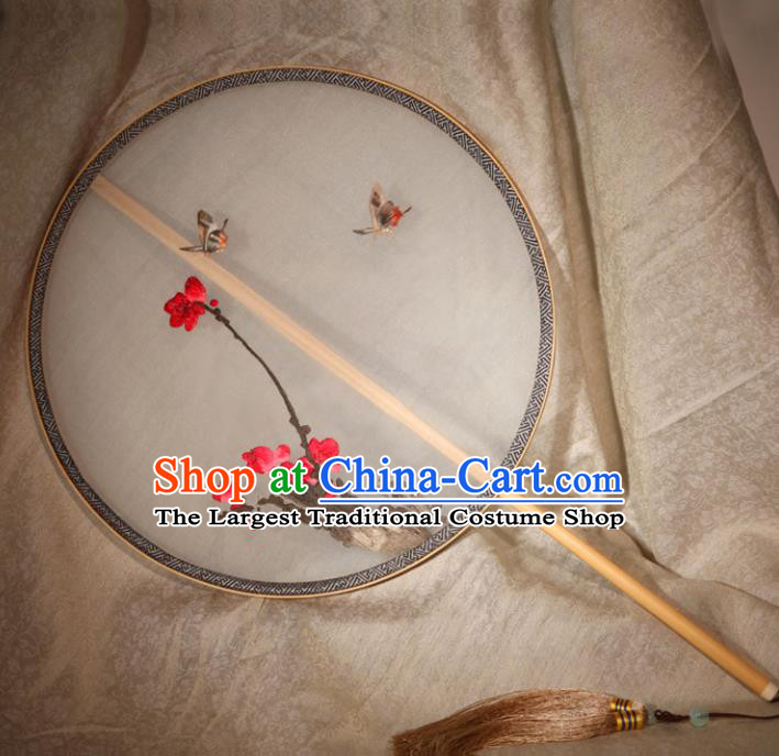 Chinese Ancient Traditional Palace Fans Hanfu Embroidered Plum Blossom Round Fans Silk Fan for Women