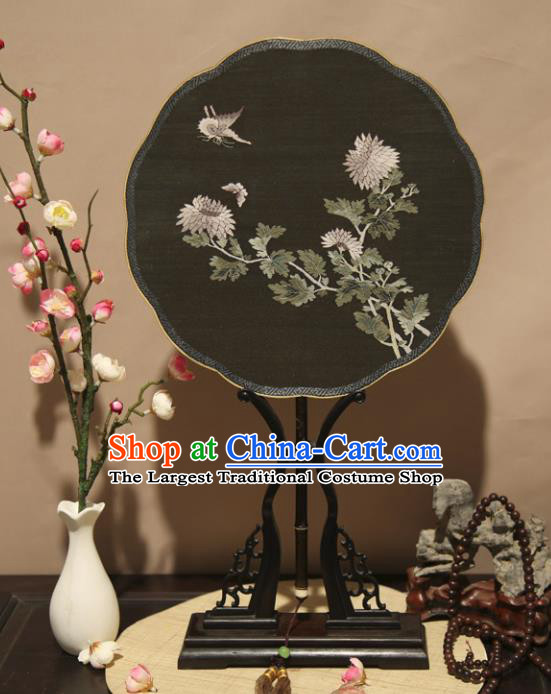 Chinese Ancient Traditional Palace Fans Hanfu Pure Silk Round Fans Embroidered Black Fan for Women