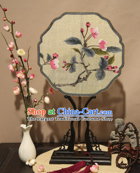 Chinese Ancient Traditional Palace Fans Hanfu Pure Silk Round Fans Embroidered Plum Blossom Fan for Women